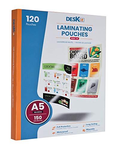 Laminierfolien DIN A5 - 120 Stück - 150 Mikron - Laminiertaschen reißfester Schutz in Premium Qualität – das perfekte Sparset 120 St. x 150 mic für Heiß-Laminiergeräte