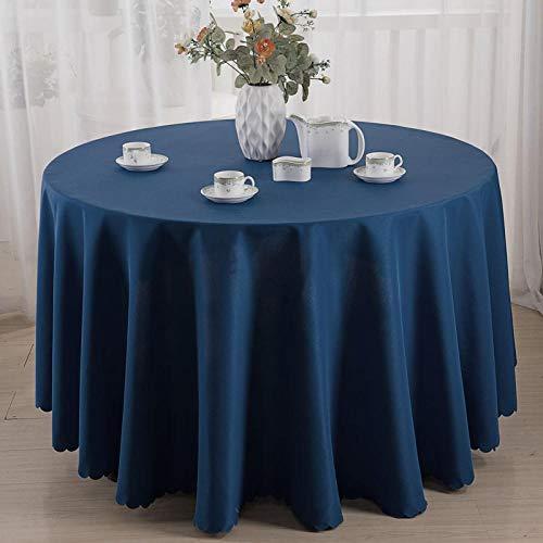 Kuingbhn Mantel para Mesa de Cocina o Salón Hojas Rectangular Resistente Al Desgaste y Duradero Lavable Diseño de Comedor Decoración del Hogar Círculo Azul Marino de 240cm de Diámetro
