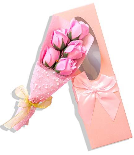 Seve nriver handgemachtes koreanisches Jabón rosas Bouquet en paquete de regalo con lazo, color rosa, 5unidades)