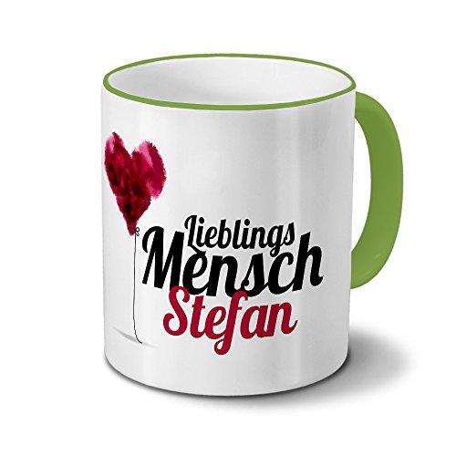 printplanet Tasse mit Namen Stefan - Motiv Lieblingsmensch - Namenstasse, Kaffeebecher, Mug, Becher, Kaffeetasse - Farbe Grün