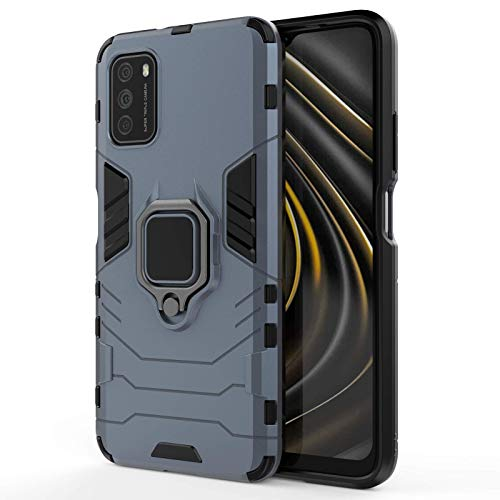 SCRENDY Funda para Xiaomi Mi 11 Lite 5G/4G, PC+TPU Silicona Doble HíBrida Protección Carcasa con Anillo Metálico Soporte Función, para Soporte Magnético del Automóvil, Azul