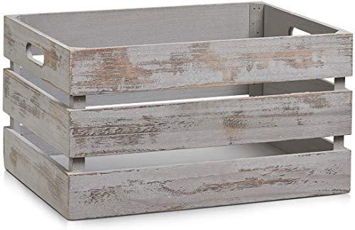 Zeller 15138 Aufbewahrungs-Kiste 'Vintage grau', Holz, ca. 39 x 29 x 21 cm