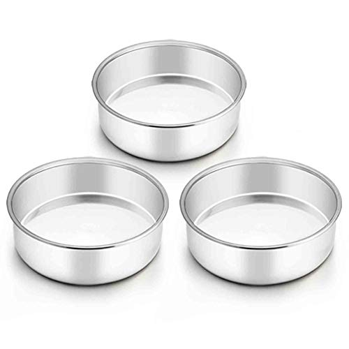 TeamFar 6 Inch Cake Pan, Round Cake Pan Tier Baking Pans Set Stainless Steel, Fit in Pot Pressure Cooker Air Fryer, Healthy & Toxic Free, Mirror Finish & Heavy Duty, Oven & Dishwasher Safe - Set of 3