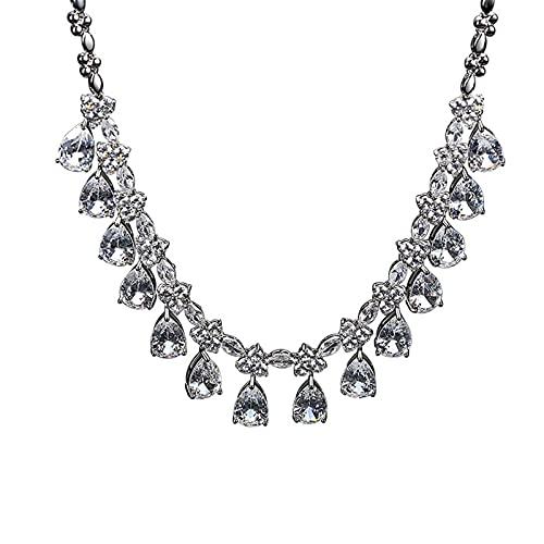 Moda para Mujer Collar De Gota De Agua Joyas Cadena De Clavícula Fiesta Banquete Collar De Joyería De Diamantes Artificiales Colgante Tridimensional