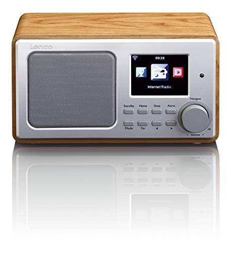Lenco  Internetradio DIR-100 WLAN mit Radiowecker und Wettervorhersage (8 cm TFT Farb-Display, USB, 2 Weckzeiten, AUX-Eingang, Line-Ausgang, Fernbedienung), wood