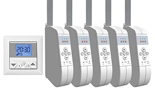 WIR elektronik, eWickler Standard 5 Fenster Funk-Set, eW930-F-M, 5x elektrischer Gurtwickler + 1x Funkuhr eU140, für 15mm Gurtband, Aufputz, bis 45Kg, Fahrtzeiten einstellbar, inkl. Netzstecker