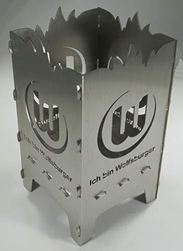Generisch Design Teelicht aus Stahl VFL Wolfsburg Ich Bin Wolfsburger 9 x 9 x 15 cm