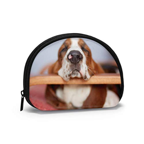 Zipper Coin Purse Cute Tan White Basset On Sofa Coin Purse for Boys Zipper Coin Purse for Women with Zipper Mini Cosmetic Makeup Bags for Women Girls Party Gifts and Decorations
