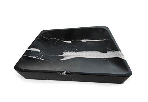Yuchengstone Assiette carrée en marbre noir - Petite pierre naturelle unique - Bords longs - Hauteur : 26,5/4 cm - Poids : env. 4 kg