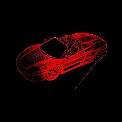 7 Cambio de color 3D Led Acrílico Super Roadster Lámpara Coche deportivo Luces nocturnas Ventiladores del coche Iluminación de la habitación Juguetes Regalos Lámpara de mesa