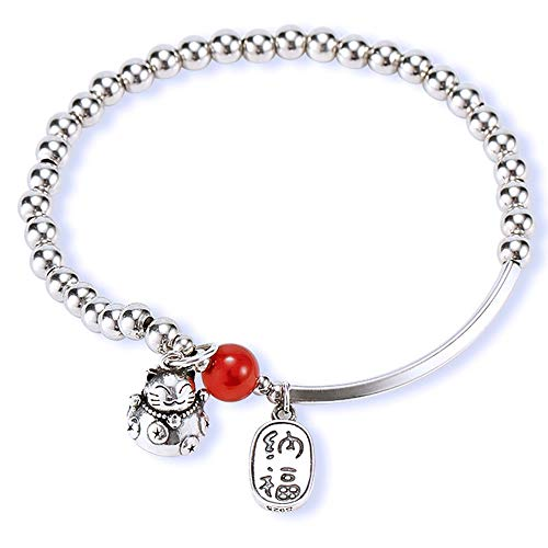 Lucky Cat Transit Bracelet Female Handmade Round Bead Valentine's Day Birthday Gift For Girlfriend Handmade Beads