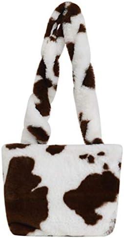 VALICLUD Soft Fluffy Plush Crossbody Messenger Bag Purse Cow Pattern Handbag Winter Fuzzy Tote product image