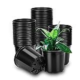 Pflanztöpfe, 60 Stück Anzuchttöpfe Blumentopf Kunststoff Blumentöpfe für Blumen und Pflanzen Anzucht Pflanztopf (Durchmesser 9cm, Schwarz)