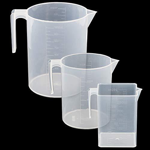 UniquQ Juego de jarra medidora de plástico 3 piezas,grande 3 tazas(1 litro),...