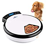 5-meals Automatic Cat Feeder Auto Pet Feeder with Digital Timer Dry Wet Food Dispenser Voice Recorder & Speaker for Cat and Small Dog by CanineStar