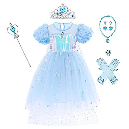 OBEEII Vestido de Elsa, Disfraz de Elsa con Accesorios de Cosplay, Vestido de Princesa para Niñas con Capa de Copos de Nieve Brillantes 7-8 Años