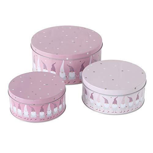 CasaJame 3er Set Metall Keksdose Plätzchendose rosa mit Wichteln Sortiert H6-9cm