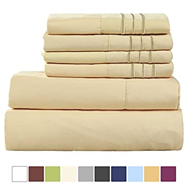 EASELAND 6-Pieces 1800 Thread Count Microfiber Bed Sheet Set-Wrinkle & Fade Resistant,Deep Pocket,Hypoallergenic Bedding set,Queen,Golden