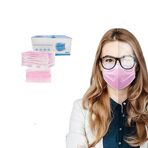 50 Stück Einmal-Mundschutz, Staubs-chutz Atmungsaktive Anti Nebel Mundbedeckung, Erwachsene, Sommerscha Bandana Face-Mouth Cover für Menschen mit Brille (Pink, 50 Stück)
