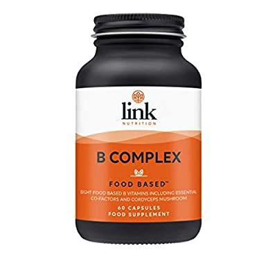 Vitamin B Food Based Complex | Contains 8 B Vitamins plus PABA + Cordyceps Mushroom | Safe-Effective-Absorbable | For normal energy-yielding metabolism | Made in the UK by Link Nutrition | 60 Vegecaps