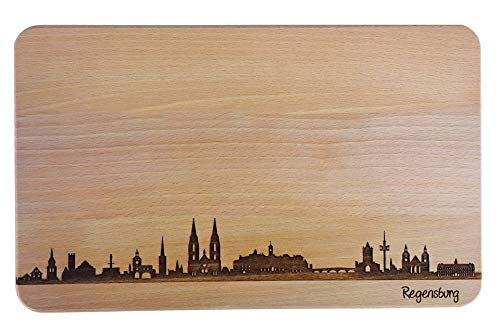 SNEG Brotzeitbrett Regensburg Skyline   Frühstücksbrettchen aus Buche   Holz Schneidbrett   Geschenk mit Gravur   Frühstücksbrett   Bayern (Standard (22x14x1cm), 1. ohne persönlicher Gravur)