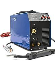 IPOTOOLS MIG-250 inverter lasapparaat MIG MAG - beschermgas lasapparaat met 250 ampère, vuldraad en elektroden geschikt met/MMA E-Hand/IGBT-technologie/230 V/blauw, 7 jaar garantie
