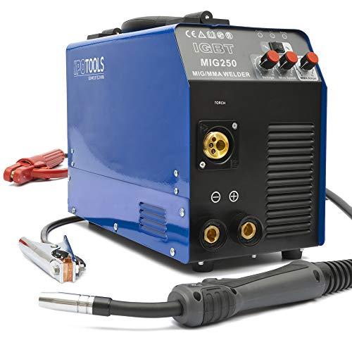 Saldatrice Inverter Professionale IPOTOOLS MIG-250, Unità di saldatrice inverter MIG MAG, saldatrice a filo continuo no gas, Unità di saldatura Schermatura Gas, con impugnatura MMA IGBT 250 A 230V