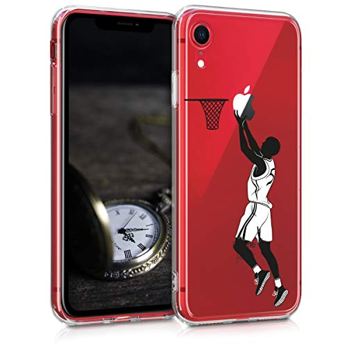 kwmobile Funda Compatible con Apple iPhone XR - Carcasa de TPU y Jugador Baloncesto en Negro/Blanco/Transparente