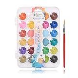 Conjunto de dolor de acuarela fundamental de 36 colores con pincel Set de acuarela W91A, 24