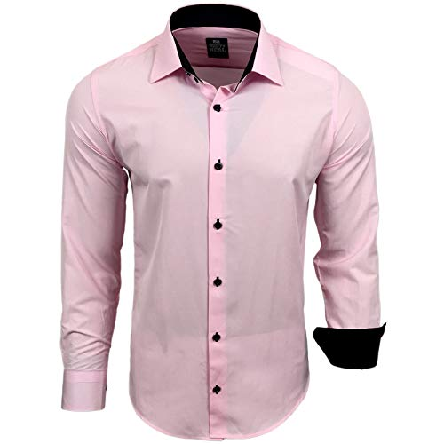 Rusty Neal Herren Hemd Stretch Business Kontrast Hemden Bügelleicht Slim 31 Farben S - 4XL, Größe:M, Farbe:Rosa