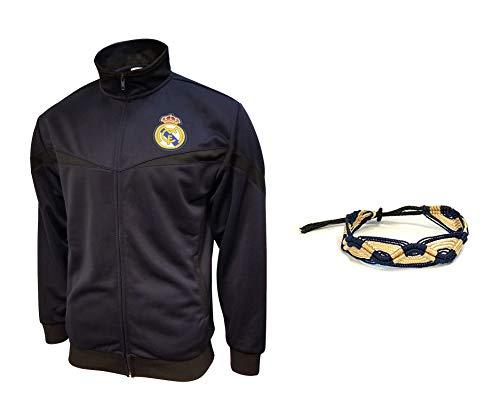 Real Madrid Jacket New Season Colors Navy Black Men Soccer Official Licensed Winter 2019-20 (Black 14, M)