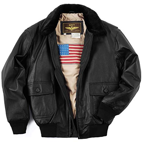 Landing Leathers Men's Navy G-1 Leather Flight Bomber Jacket Distressed Brown X-Large