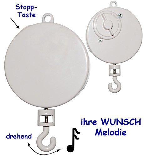 alles-meine.de GmbH Spieluhr / Spielwerk -  Brahms - Wiegenlied - Lullaby  - z.B. Mobile & Traumfänger - drehend & zum Aufhängen - Musikbox - aus Kunststoff - Plastik - für BAB..