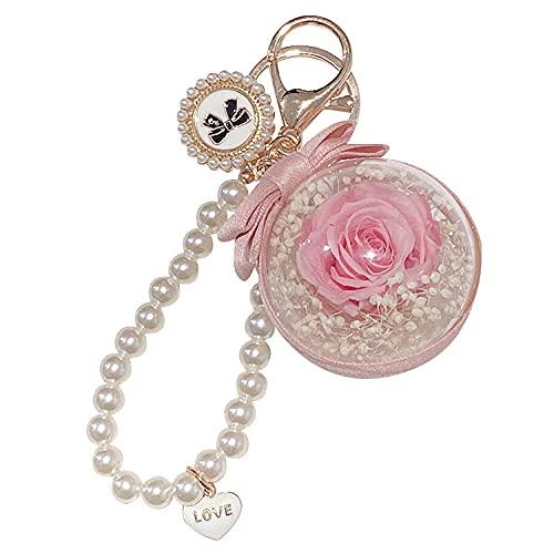 A-Generic Llavero conservado Flor Rosa Perla Llave Colgante Amor Bolsa Colgante Personalizado...