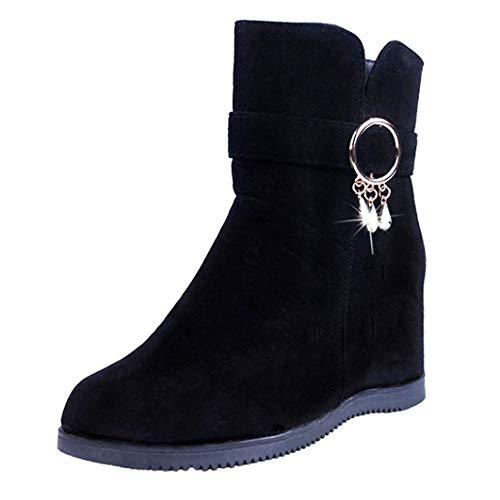 Botines de Invierno Plano para Mujer Otoño 2018 Moda PAOLIAN Botas Cuña Tacón Zapatos de Señora Calzado Piel Dama Botas de Terciopelo Mediano Militares con Colgantes Talla Grande