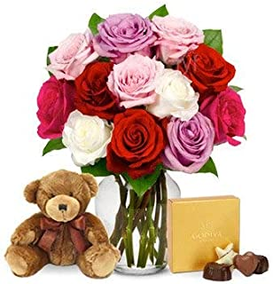 Flowers - One Dozen Assorted Sweetheart Roses with Godiva & Bear (Free Vase Included)