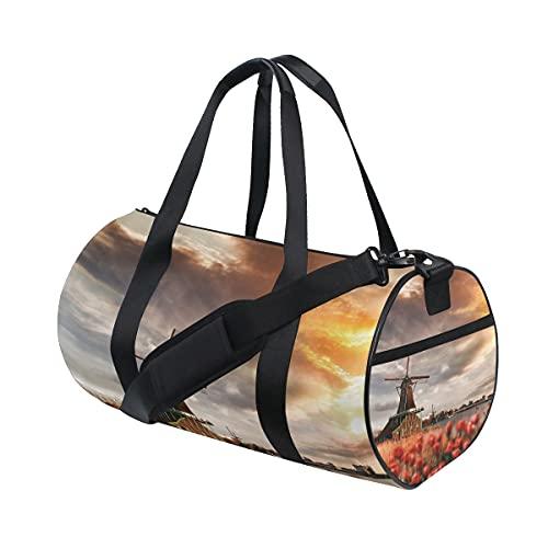 FANTAZIO Gimnasio Bolsa de lona hermosa puesta de sol holandés Molino de viento para hombre Gimnasio Duffel Bag