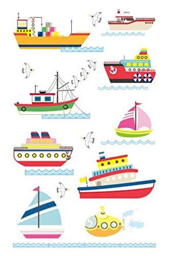 EROSPA® Kinder Tattoo-Bogen Temporär/Sticker - Schiffe Boot Marine Meer Wasser - Wasserfest - 12 x 7,5 cm