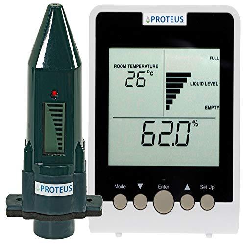 Ultraschall Füllstandsanzeige für Zisternen, Wassertanks, Regentonnen. Messbereich des Sensors bis 3m, batteriebetrieben, separates Display mit Anzeige von aktuellem Volumen, Temperatur, Uhrzeit