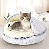 Queta Rundes Katzenbett Tierbett Hundebett, Haustierbett Waschbar Warmes Kissen Flauschig Halb umgeben Katzenkissenbett in Doughnut-Form für Katzen und kleine,mittelgroße Hunde, grau