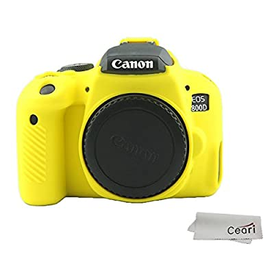 CEARI Silicone Camera Case Rubber Housing Protective Cover for Canon EOS 800D Rebel T7i Digital SLR Camera - Yellow