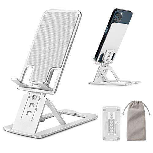 TECOOL Soporte Movil Mesa Escritorio, Ajustable Plegable Extensible Aluminio Soporte Teléfono para iPhone 12 Mini 11 Pro MAX XR Se XS 8 7 Samsung, Huawei, Tabletas/Smartphones de 4'-12' - (Plata)