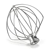 KN256WW 6-Wire Whip Attachment for KitchenAid 6 Quart Bowl-Lift Stand Mixer Accessory Replacement, Egg Cream Stirrer, Cakes Mayonnaise Whisk Stainless Steel
