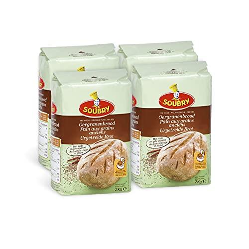 SOUBRY Brotbackmischung für Urgetreide Brot im Backofen oder Brotbackautomat, VorteilsPack Mehl Mischung mit Urkprn zum Backen für Brot im 4er Set (4 x 2 Kg)