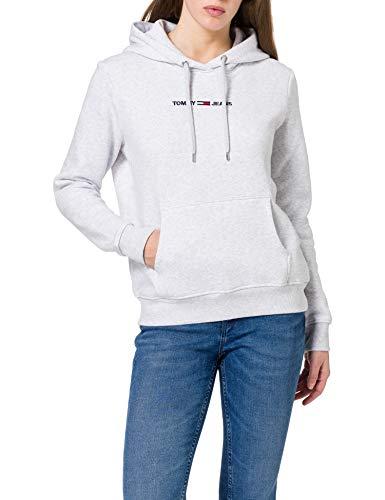 Tommy Jeans TJW Linear Logo Hoodie Suéter, Gris Plateado, XL para Mujer