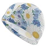 Hdadwy Gorro de natación Daisy Blue Manzanilla Flor Gorros de natación Sombrero para mujeres Hombres Adultos Spandex Gorros de baño Cabello largo y corto Señoras Sombrero de natación Accesorios de nat