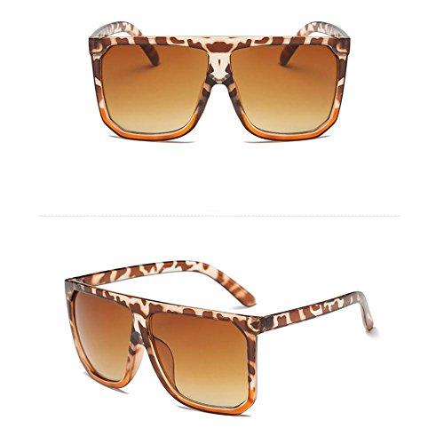 Gafas de sol modernas para mujer, gafas de sol Resin Big Sqaure Frame de gran tamaño, gafas de sol retro con espejo, gafas de sol para mujeres y niñas Leopard-Rahmensteigungstee Sonnenbrille