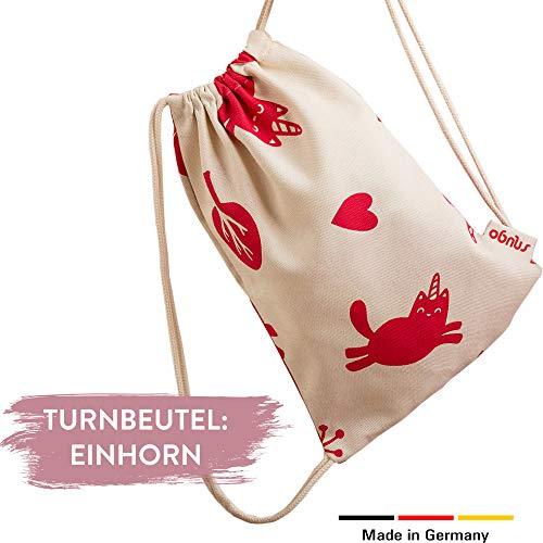 snugo Einhorn Turnbeutel Kinder   Beutel für Mädchen und Jungen   Ideal für Sport, als Kindergeburtstag Mitgebsel oder als Rucksack für den Kindergarten   Made in Germany