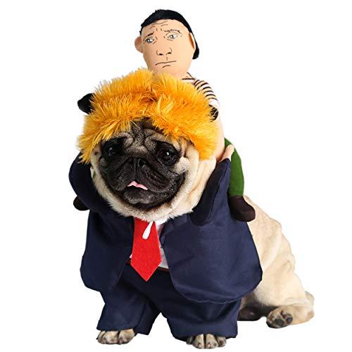 Aramomo grappige president troef huisdier kostuum set van 3 met pruik pak pop halloween partij outfit kostuum voor honden katten, XL, Trump