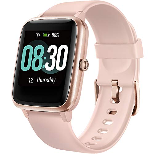 UMIDIGI Smartwatch Fitness Tracker Uwatch3, Armbanduhr Sportuhr Smart Watch für Damen Herren Kinder mit Herzfrequenz Schlaftracker 5 ATM Wasserdicht Schrittzähler Kompatibel mit Android IOS, Rosa Gold